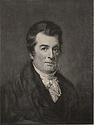 David Hosack (1769-1835), American physician and botanist. He established the Elgin Botanic Garden, New York, where the Rockefeller Centre now stands.  Engraving, 1896.