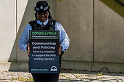 Parks Police patrol and spread the message about staying at home and social distancing - Battersea Park is reasonably busy as the sun is out and it is warmer. The 'lockdown' continues for the Coronavirus (Covid 19) outbreak in London.