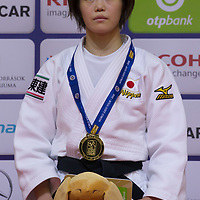 Gold medalist Hiromi Endo of Japan celebrates her victory during an awards ceremony after the Women -48 kg category at the Judo Grand Prix Budapest 2018 international judo tournament held in Budapest, Hungary on Aug. 10, 2018. ATTILA VOLYI