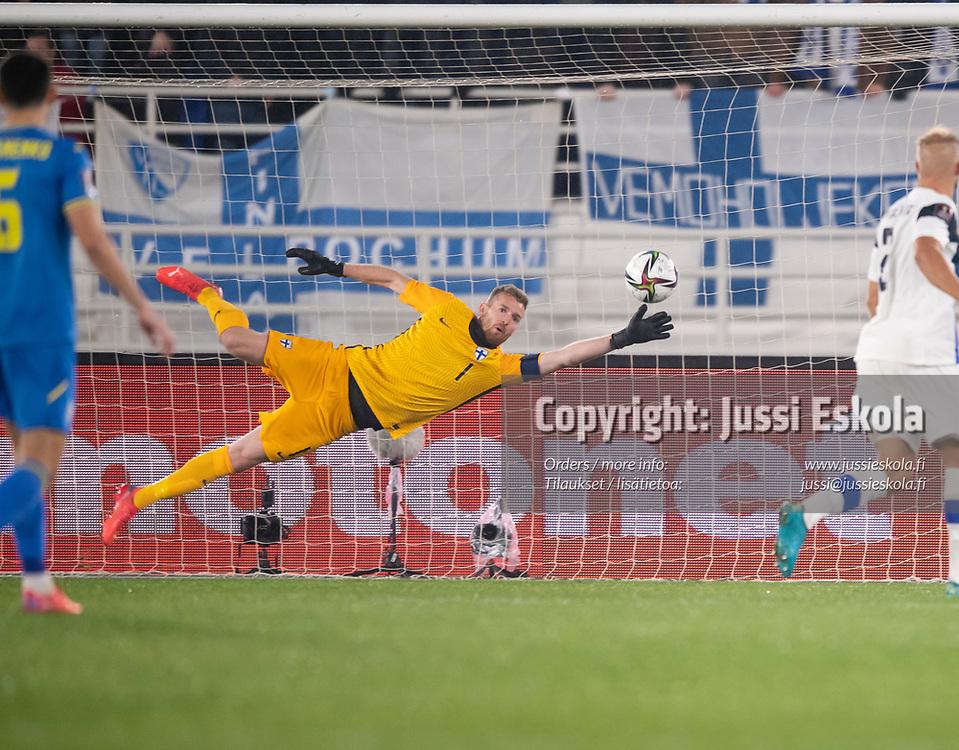 Lukas Hradecky 0-1. Suomi - Ukraina. MM-karsinta. Helsinki 9.10.2021. Photo: Jussi Eskola