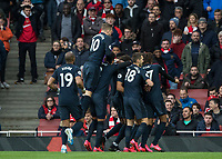 Football - 2019 / 2020 Premier League - Arsenal vs. Everton<br /> <br /> Dominic Calvert-Lewin (Everton FC ) and the rest of the Everton team celebrate after he gives his team first minute lead at The Emirates Stadium.<br /> <br /> COLORSPORT/DANIEL BEARHAM