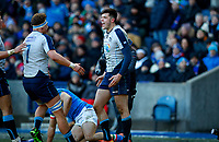 Rugby Union - 2019 Guinness Six Nations Championship - Scotland vs. Italy<br /> <br /> Blair Kinghorn of Scotland celebrates scoring his second try at Murrayfield.<br /> <br /> COLORSPORT/LYNNE CAMERON