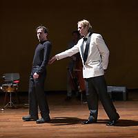 Nederland, Amstelveen, 16 februari 2016.<br />Repetitie van het theaterstuk Not The Tommy Cooper Story met Jan Jaap van der Wal en René van 't Hof in de Schouwburg.<br />Not The Tommy Cooper Story is een coproductie van Toneelgroep Maastricht met & van Warmerdam. Artistiek leider Michel Sluysmans maakt samen met Vincent van Warmerdam muziektheaterproducties waarbij tekst en muziek onlosmakelijk met elkaar verbonden zijn.<br /><br /><br /><br />Foto: Jean-Pierre Jans