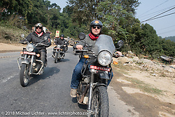 Rip Rolfsen (L) and Danny Ochs on day-9 of our Himalayan Heroes adventure riding from Pokhara to Nuwakot, Nepal. Wednesday, November 14, 2018. Photography ©2018 Michael Lichter.