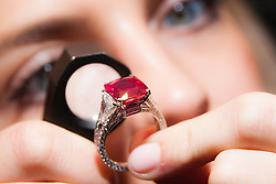 Sotheby's, London, October 20th 2014. Jewels from the famed collection of Dimitri Mavrommatis will be offered in Sotheby's Geneva sale of Magnificent Jewels & Noble Jewels on 12 November. PICTURED: A woman examines the 8.62 carat cushion-shaped Burmese Ruby, known as the Graff Ruby, a truly exceptional example of Mogok rubies, which are <br /> arguably the rarest of all gemstones, with the ring having an estimated value of £4.2 - 5million.