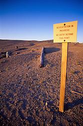 Revegetation in Progress Sign at Windy Ridge, Mt. St. Helens National Volcanic Monument, Washington, US