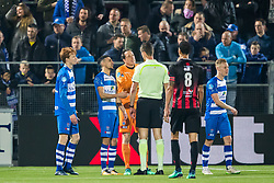 (L-R) Sepp van den Berg of PEC Zwolle, Younes Namli of PEC Zwolle, goalkeeper Diederik Boer of PEC Zwolle, referee Christiaan Bax, Ryan Koolwijk of sbv Excelsior, Rick Dekker of PEC Zwolle during the Dutch Eredivisie match between PEC Zwolle and sbv Excelsior Rotterdam at the MAC3Park stadium on April 14, 2018 in Zwolle, The Netherlands