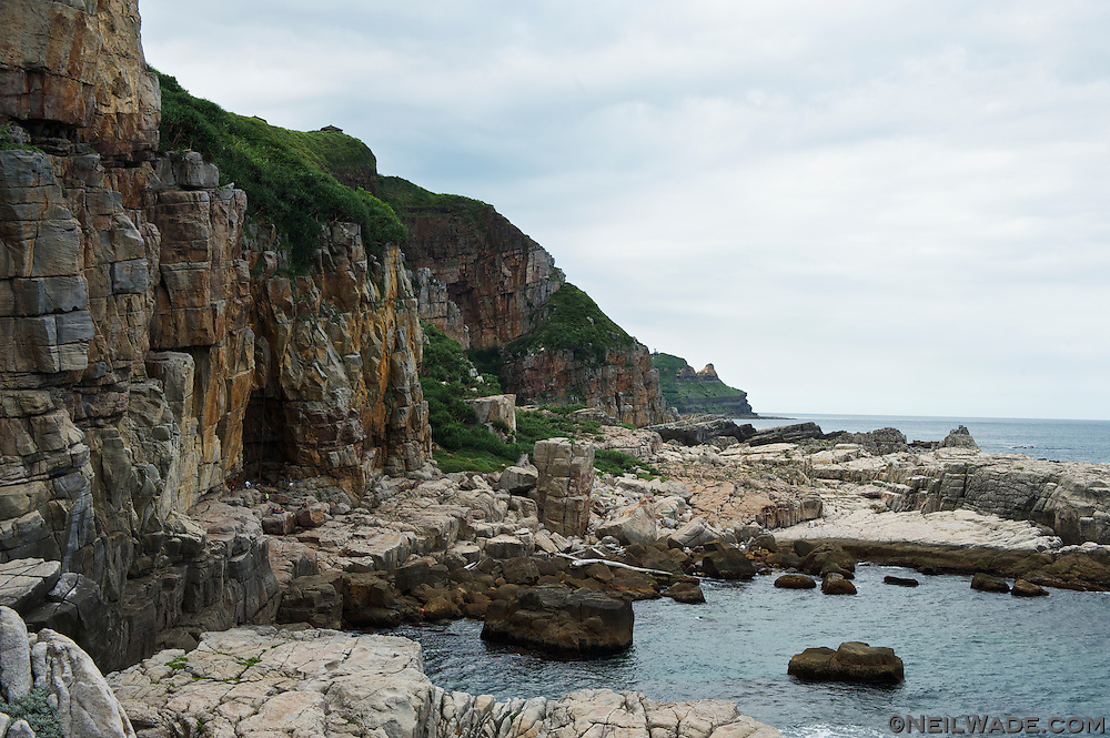 The sea cliffs at Longdong are world famous amoung rock climbers.