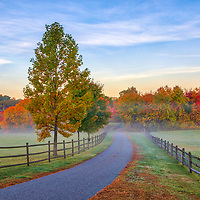 New England fall foliage and country road in rural Central Massachusetts.
