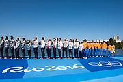 "Rio de Janeiro. BRAZIL     GBR M8+. Gold Medalist Bow. Bow. <br /> Scott DURANT, Tom RANSLEY, T Andrew T<br /> HODGE,  Matt GOTREL,  Pete REED,  Paul<br /> BENNETT,  Matt LANGRIDGE,   William SATCH and Cox. Phelan HILL, at the, 2016 Olympic Rowing Regatta. Lagoa Stadium, Copacabana,  ""Olympic Summer Games""<br /> Rodrigo de Freitas Lagoon, Lagoa. Local Time 12:13:24  Saturday  13/08/2016<br /> [Mandatory Credit; Peter SPURRIER/Intersport Images]"