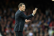 West Ham United manager Slaven Bilic gives instructions from the dugout. The Emirates FA cup, 6th round replay match, West Ham Utd v Manchester Utd at the Boleyn Ground, Upton Park  in London on Wednesday 13th April 2016.<br /> pic by John Patrick Fletcher, Andrew Orchard sports photography.