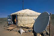 Ger with satelite dish<br /> Gobi Desert<br /> Mongolia