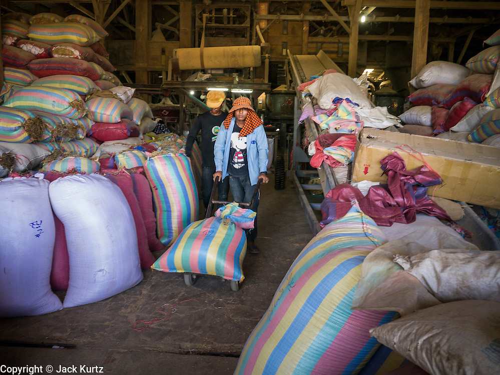 """29 JUNE 2013 - BATTAMBANG, CAMBODIA:   A worker in a rice mill brings bags of milled rice out to a waiting customer. The mill is next to the tracks that carry the """"bamboo trains."""" The bamboo train, called a norry (nori) in Khmer is a 3m-long wood frame, covered lengthwise with slats made of ultra-light bamboo, that rests on two barbell-like bogies, the aft one connected by fan belts to a 6HP gasoline engine. The train runs on tracks originally laid by the French when Cambodia was a French colony. Years of war and neglect have made the tracks unsafe for regular trains.  Cambodians put 10 or 15 people on each one or up to three tonnes of rice and supplies. They cruise at about 15km/h. The Bamboo Train is very popular with tourists and now most of the trains around Battambang will only take tourists, who will pay a lot more than Cambodians can, to ride the train.       PHOTO BY JACK KURTZ"""