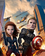 Caricature: Captain America, The Winter Soldier. Chris Evans plays Steve Rogers/Captain America, and Scarlett Johansson plays Natasha Romanoff/The Black Widow. 3D modeling and Photoshop. Originally created for Penthouse Magazine Movie Review.