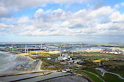 Nederland, Zeeland, Borssele, 23-10-2013;<br /> Kerncentrale Borssele in Zuid-Beveland aan de Westerschelde.  Links industrieterrein Vlissingen-Oost. Sloehaven en opslagtanks in het midden.<br /> Borssele nuclear power station in South Beveland on shore of the Westerschelde.<br /> luchtfoto (toeslag op standaard tarieven);<br /> aerial photo (additional fee required);<br /> copyright foto/photo Siebe Swart.