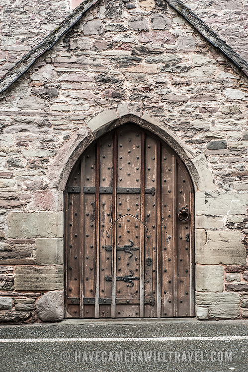 A double-door (one small one inside the other) on the Parish Church of St Mary's in Brecon, Wales.
