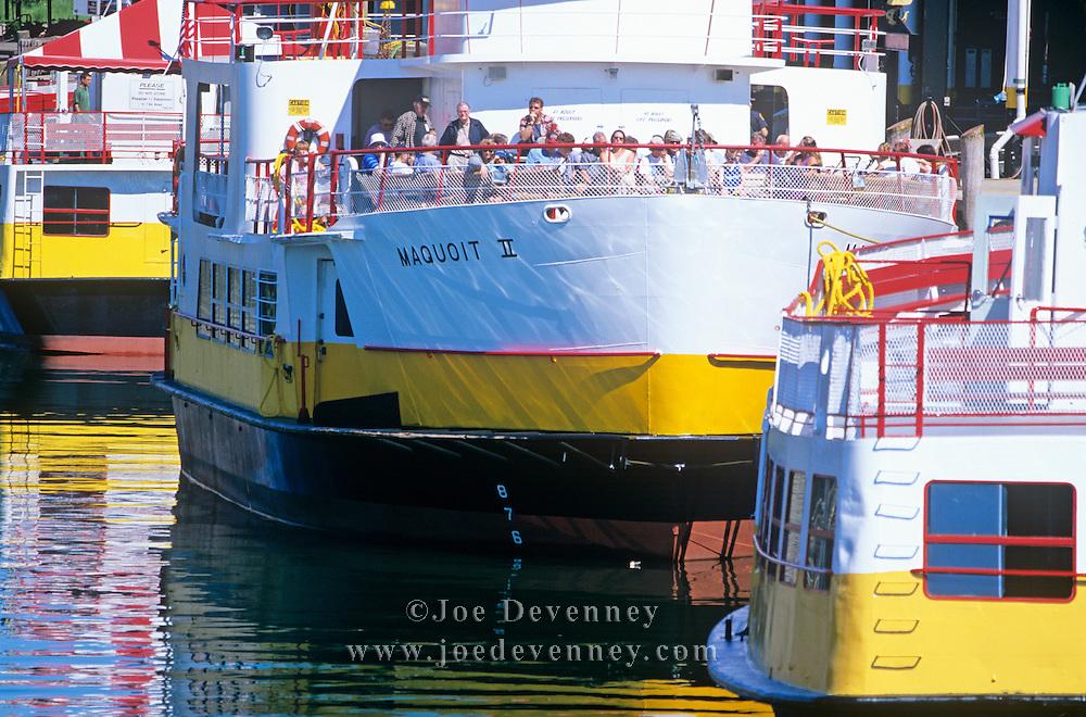 Boats leaving the Casco Bay Ferry Terminal. Portland, Maine
