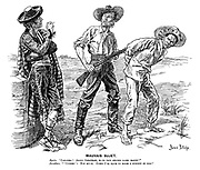 """Mauvis Sujet. Spain. 'Caramba! Amigo Jonathan, your new citizen looks happy!"""" Jonathan. """"'Citizen'! Not much. Guess I'll have to make a subject of him!'"""