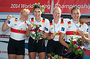 Amsterdam. NETHERLANDS.  GER W4X Gold Medalist: Bow. Annekatrin THIELE, Carina BAER, Julia<br /> LIER and Lisa SCHMIDLA, Gold  Medalist.  Bosbaan Rowing Course. 2014 World Rowing Champions . 14:30:14  Saturday  DATE}  [Mandatory Credit; Peter Spurrier/Intersport-images]