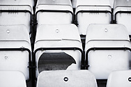 Ground shot of broken seat depicting the mptynes of the crowd during the EFL Sky Bet League 2 match between Stevenage and Bradford City at the Lamex Stadium, Stevenage, England on 5 April 2021.