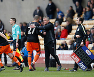 Chris Wilder manager of Sheffield Utd greets Leon Clarke of Sheffield Utd as he is substituted during the English League One match at Vale Park Stadium, Port Vale. Picture date: April 14th 2017. Pic credit should read: Simon Bellis/Sportimage