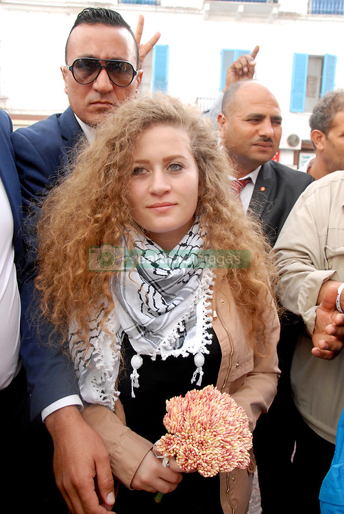 October 2, 2018 - Tunis, Tunisia - Palestinian activist Ahed Tamimi received by the heads of the Tunisian General Labor Union (UGTT) after being received by the President of the Republic. (Credit Image: © Chokri Mahjoub/ZUMA Wire)