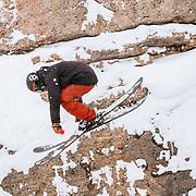 Chris Logan rotating his way down slope.