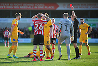 Lincoln City's Harry Anderson is shown a red card by referee Michael Salisbury<br /> <br /> Photographer Andrew Vaughan/CameraSport<br /> <br /> The EFL Sky Bet League Two - Lincoln City v Northampton Town - Saturday 9th February 2019 - Sincil Bank - Lincoln<br /> <br /> World Copyright © 2019 CameraSport. All rights reserved. 43 Linden Ave. Countesthorpe. Leicester. England. LE8 5PG - Tel: +44 (0) 116 277 4147 - admin@camerasport.com - www.camerasport.com