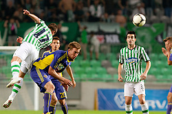 Matic Fink #17 of Olimpija and Robert Beric #32 of Maribor during football match between NK Olimpija and NK Maribor in 5th Round of Prva liga NZS 2012/13, on August 11, 2012 in SRC Stozice, Slovenia. (Photo by Urban Urbanc / Sportida.com)
