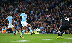 Raheem Sterling of Manchester City fires a shot at goal  - Mandatory by-line: Matt McNulty/JMP - 26/09/2017 - FOOTBALL - Etihad Stadium - Manchester, England - Manchester City v Shakhtar Donetsk - UEFA Champions League Group stage - Group F