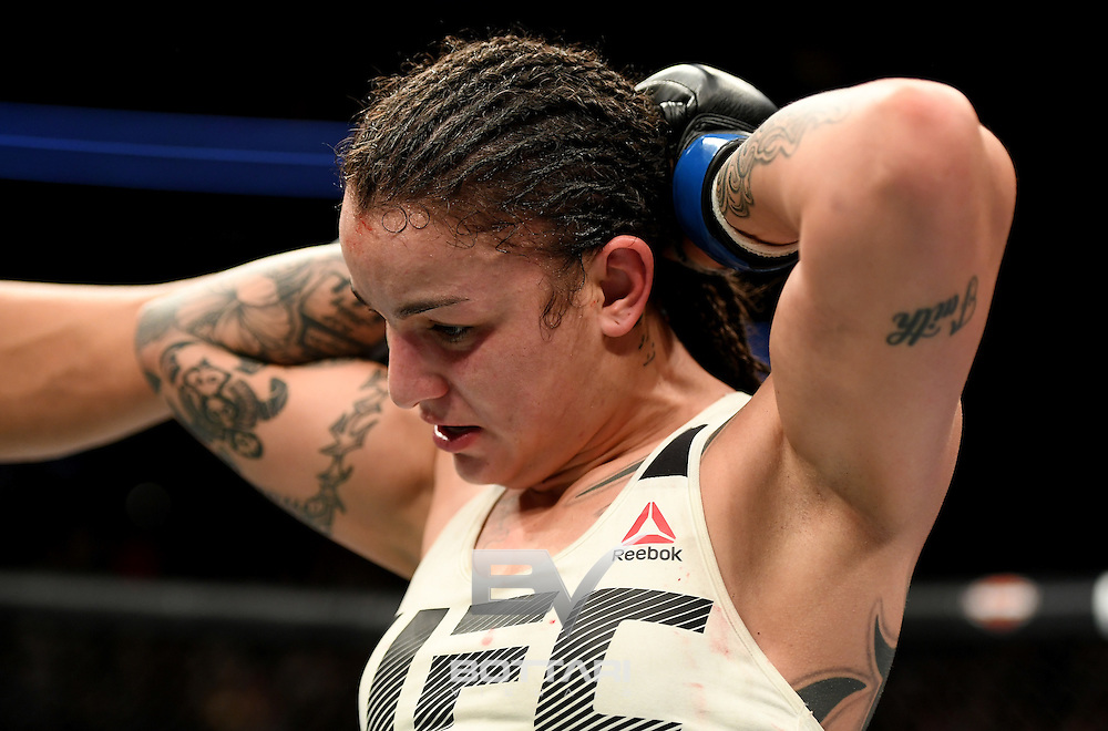 NEW YORK, NY - NOVEMBER 12:  Raquel Pennington of the United States looks on against Miesha Tate of the United States (not shown) in their women's bantamweight bout during the UFC 205 event at Madison Square Garden on November 12, 2016 in New York City.  (Photo by Jeff Bottari/Zuffa LLC/Zuffa LLC via Getty Images)