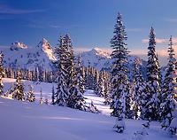 Evening light on the Tatoosh Range in winter, Mount Rainier National Park Washington USA