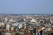 Italy, Milan, aerial photography of the city The Cathedral in the background