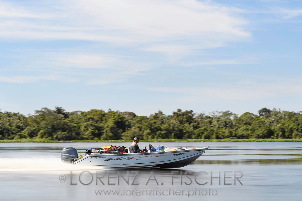 A boat on the river Paraguay in the Pantanal, Mato Grosso do Sul, Brazil