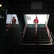 A stairway usher during the Boston Red Sox V Tampa Bay Rays, Major League Baseball game on Jackie Robinson Day, Fenway Park, Boston, Massachusetts, USA, 15th April, 2013. Photo Tim Clayton