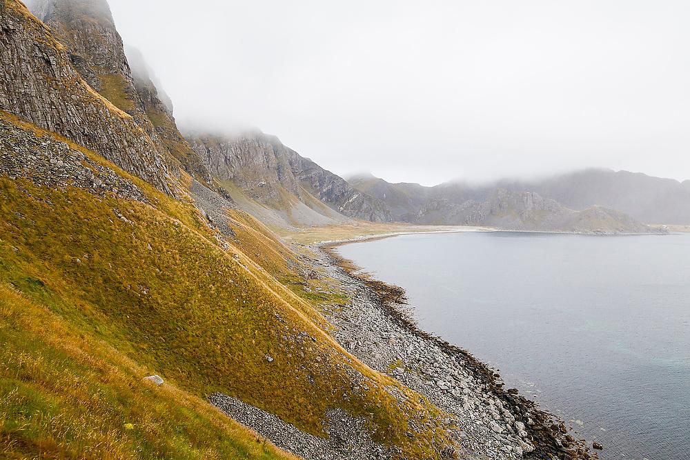 The rocky coast of Vaeroy Island, Lofoten Islands, Norway.