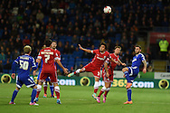 Fabio Da Silva of Cardiff city © wins a header. Skybet football league championship match, Cardiff city v Ipswich Town at the Cardiff city stadium in Cardiff, South Wales on Tuesday 21st October 2014<br /> pic by Andrew Orchard, Andrew Orchard sports photography.