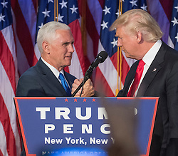 President-elect Donald Trump, joined on stage by running mate Mike Pence, speaks to supporters at the Election Night Party at the Hilton Midtown Hotel in New York City, NY, USA, on Wednesday, November 9, 2016. Photo by J. Conrad Williams Jr./Newsday/TNS/ABACAPRESS.COM
