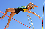 Sun-News photo by Robin Zielinski<br /> Mayfield's Taylor Black clears the bar during one of her high jumps at the Field of Dreams on Friday.