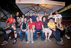 1st line: Jaka Lopatic, Rok Plestenjak, Tim Adamic, Martin Pavcnik, Editor of Siol Sportal Janez Voler, photographer Vid Ponikvar, Engelbert Osojnik, Tina Pertoci..2nd line: Gregor Jamnik, Rok Viskovic, Simon Kavcic, Andrej Rigler, photographer Simon Plestenjak, Peter Prelc, Dario Dotto, Tomaz Jaklic and Peter Kastelic  at Sportal's 5 years party, on June 12, 2009, in Gostilna Kersic, Ljubljana, Slovenia. (Photo by Vid Ponikvar / Sportida)