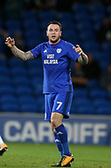 Lee Tomlin of Cardiff city looks on. EFL Skybet championship match, Cardiff city v Sheffield Utd at the Cardiff City Stadium in Cardiff, South Wales on Tuesday 15th August 2017.<br /> pic by Andrew Orchard, Andrew Orchard sports photography.
