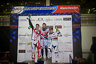 #49 (NYHAUG Tory) CAN gets 3rd place,  #1 (WILLOUGHBY Sam) AUS gets 2nd and #65 (PHILLIPS Liam) GBR wins the UCI BMX Supercross World Cup in Manchester, UK