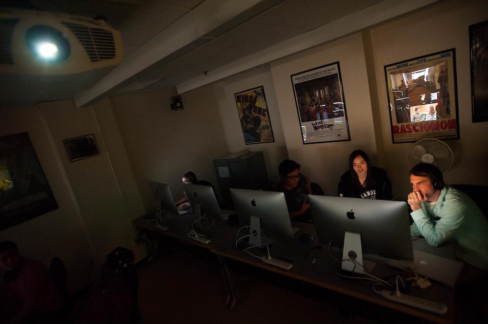 Brandeis students in a digital editing class with professor Daniel Mooney in Waltham, MA.