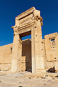 Entrance to the Cella or Inner Temple  of the Temple of Bel, Palmyra, Syria. Ancient city in the desert that fell into disuse after the 16th century.