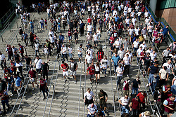 A general view of fans arriving at Wembley Park Station before the match begins