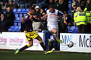 Tranmere Rovers' Jason Koumas looks to go past Notts County's Gary Liddle. Skybet football league one match, Tranmere Rovers v Notts county at Prenton Park in Birkenhead, England on Saturday 15th March 2014.<br /> pic by Chris Stading, Andrew Orchard sports photography.