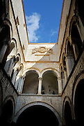 Interior courtyard and upper gallery, Sponza Palace, Dubrovnik old town, Croatia