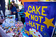 Cake not hate stall giving out cakes as Anti Brexit pro Europe demonstrators protest in Westminster opposite Parliament as MPs debate and vote on amendments to the withdrawal agreement plans on 14th February 2019 in London, England, United Kingdom.