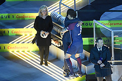 May 12, 2018 - Paris, France - NATHALIE BOY DE LA TOUR (PRESIDENTE LFP) - Nasser Al Khelaifi (PRESIDENT DU PSG - 08 THIAGO MOTTA (PSG) - TROPHEE - JOIE (Credit Image: © Panoramic via ZUMA Press)
