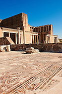 Main hall of the late Roman period Jewish synagogue of Sardis, over 50 m long and large enough for 1000 worshipers, with 4th cent. AD mosaic floors & walls. The Greco Roman Bath Gymnasium stands behind.  Sardis archaeological site, Hermus valley, Turkey. Discovered in 1962 as part of an on going  Harvard Art Museum excavation project. .<br /> <br /> If you prefer to buy from our ALAMY PHOTO LIBRARY  Collection visit : https://www.alamy.com/portfolio/paul-williams-funkystock/sardis-archaeological-site-turkey.html<br /> <br /> Visit our CLASSICAL WORLD HISTORIC SITES PHOTO COLLECTIONS for more photos to download or buy as wall art prints https://funkystock.photoshelter.com/gallery-collection/Classical-Era-Historic-Sites-Archaeological-Sites-Pictures-Images/C0000g4bSGiDL9rw